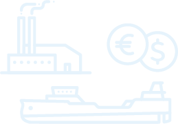 factory, ship, and currency icon